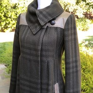 Mackage Wool Plaid Coat with Leather Trim